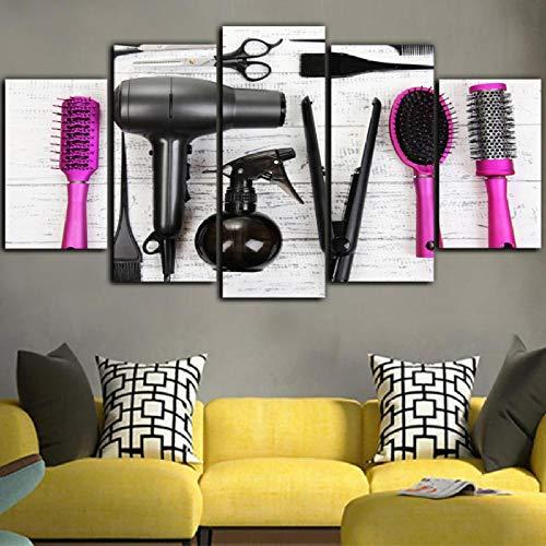 Xzfddn 5 Stücke Wand Poster Haar Kosmetik Gedruckt Auf Leinwand Malerei Friseur Wandkunst Bild Home Decora Leinwanddruck-40X60/80/100Cm,With Frame