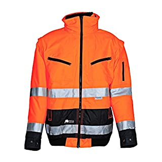 Asatex 174ZO S Prevent High Visibility Pilot's Jacket with Fleece Lining, Bright Orange, Small