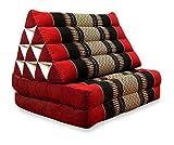 Orientalisches Liegekissen Der Marke Livasia®, Sitzkissen Mit 2 Auflagen, Arabisches Bodenkissen Aus Kapok Als Entspanungsmatte und Liegematte (Schwarz / Rot)