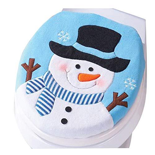 HROIJSL Weihnachts schneemann Toilettensatz Weihnachts Dekoration Christmas Snowman Lid Single Toilettendeckel