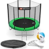 Hop-Sport Gartentrampolin Outdoor Trampolin 244, 305, 366, 430, 490 cm Komplettset inkl. Außennetz Leiter Wetterplane Bodenhaken grün (244 cm)