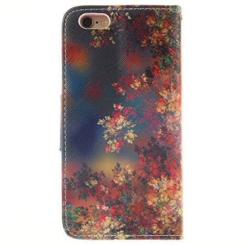 Linvei iPhone 6 /iPhone 6S handyhülle Leder mit Wallet Ständer Cover für iPhone 6 (4.7 zoll) Ahornblatt