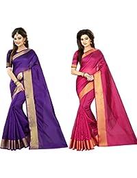 Indian Fashionista Women's Purple & Pink Plain Cotton Combo Sarees (Dailywear Sarees)