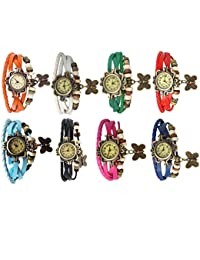 RTimes Designer Vintage Leather Set of 8 Multicolor Bracelet Butterfly Watch for Girls, Women