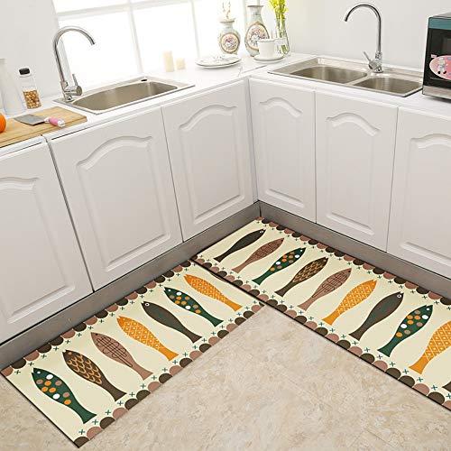 Mengjie Lange Küchenteppich für Zuhause, 2 Stück, gelb, grüner Fisch, 5 mm dick, saugfähig, Schlafzimmer, Wohnzimmer, Fußmatte, Moderne Eingangstürmatte, 45x70+45x150CM