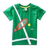 BHYDRY NiñIto Niños Bebé Chico Chica De Ropa De Manga Corta De Dibujos Animados Raqueta De Tenis De Impresión Camiseta De Las Tapas De La Blusa(Verde,150)