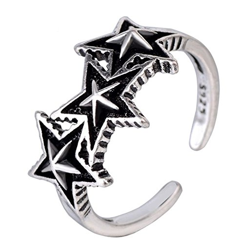 Wicmoon Ringe Punk Stil Stern Gravieren Öffnung Einstellbar Vintage Silber Ring Finger Schmuck für Damen und Mädchen
