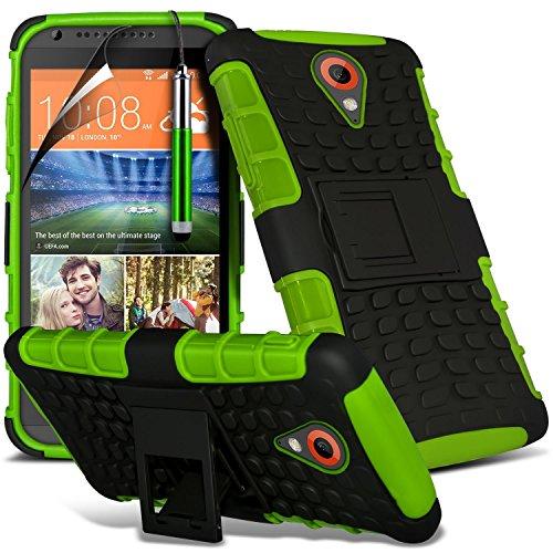 Green - HTC Desire 320 Zweischichtige starke, stoßfeste Hülle in Superqualität mit Bildschirmschutz & versenkbarem Eingabestift (stoßfest – Hülle – hart – Schutz – robust) von Gadget Giant®