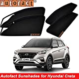 #8: Autofact Magnetic Window Sunshades/Curtains for Hyundai Creta [Set of 4pc - Front 2pc With Zipper ; Rear 2pc Without Zipper] (Black)