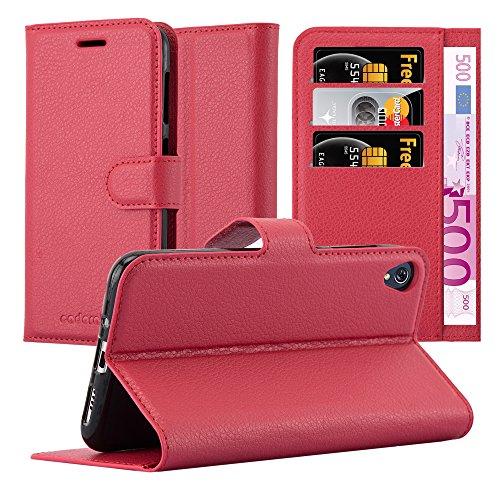 Cadorabo Hülle für ASUS ZenFone LIVE / 3 GO - Hülle in Karmin ROT - Handyhülle mit Kartenfach & Standfunktion - Case Cover Schutzhülle Etui Tasche Book Klapp Style
