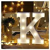 Ftxj A-Z et lettres de l'alphabet support de panneau lumineux LED Décoration fête de mariage Banquet Décor romantique lampe de bureau C K