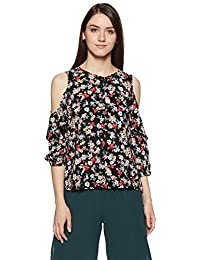 Symbol Amazon Brand Women's Floral Regular Fit Top