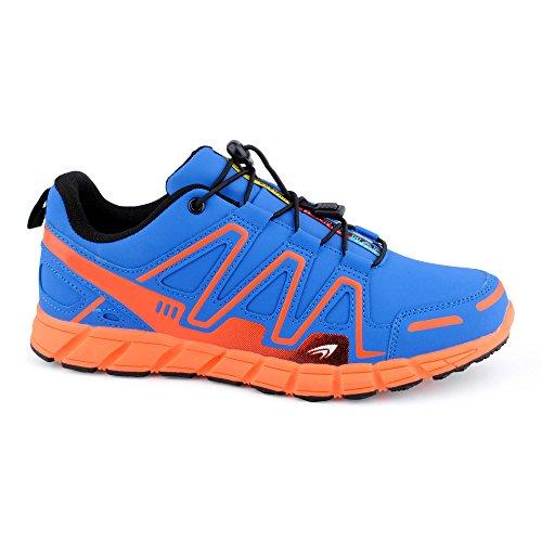 FiveSix Herren Damen Sneaker Sportschuhe Lauf Freizeit Mehrfarbig Runners Fitness Low Unisex Schuhe Blau/Orange-M