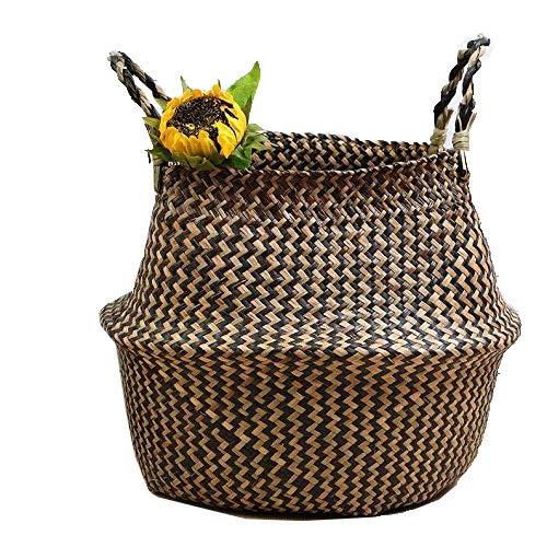 Cesta de algas marinas naturales de SZETOSY, cesta hecha a mano con asa, para ropa sucia y juguetes, Style#2, 32CMx28CM
