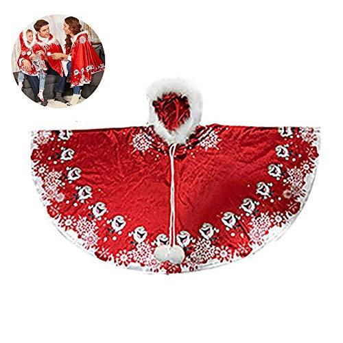 1PC Weihnachtsschneeflo Umhang Sankt-Schal Rot Weihnachten mit Kapuze -