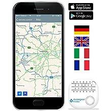 musegear® app Key Finder -Version 2 localisateur et traqueur sonore pour retrouver clés -Volume 3 Fois élevé –Couleur Blanc - Smartphone Bluetooth GPS couplage