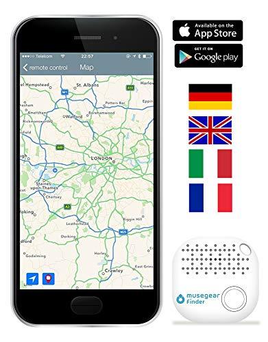 musegear® Schlüsselfinder mit Bluetooth App I Version 2 I Keyfinder laut für Handy in weiß I GPS Ortung/Kopplung I Schlüssel Finden