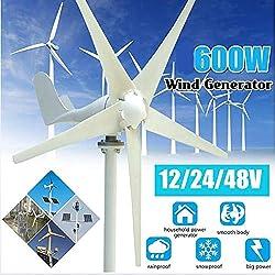 Tqing Aerogeneradores, 600W 12/24 / 48V AC Permanente energía eólica generador de turbina de 5-Blades hogar del generador w/Controlador de la farola Solar,48v