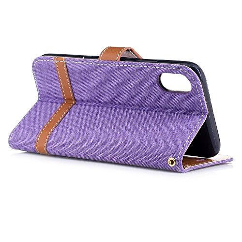 iphone X hülle, Voguecase Kunstleder Tasche PU Schutzhülle Tasche Leder Brieftasche Hülle Case Cover für Apple iphone X(Mischfarben Denim/Dunkelgrün) + Gratis Universal Eingabestift Mischfarben Denim/Purple