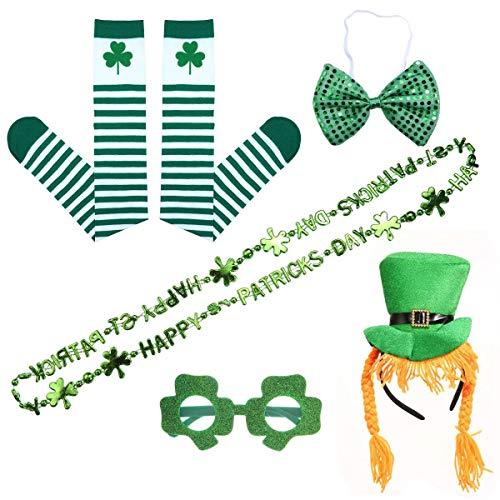 Pawaca St. Patrick S Day Dressing-Up Zubehör, Grüne Kobold Parade Kostüm Set Irish Day Saint Celebration Outfit Kleidung Zubehör, Tolles Geschenk Für Weibliche Freunde