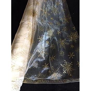 G/én/érique Tissus NOIR Organza ETOILES or argent tissu deco noel mariage au m/ètre nappe chemin de table d/éco largeur 150 cm