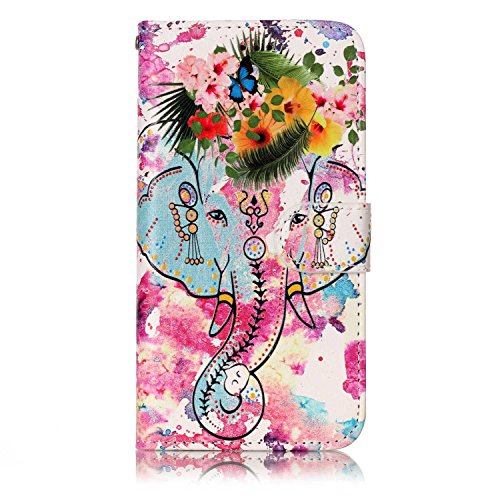 Coque Etui pour Galaxy S6 Edge,Galaxy S6 Edge Coque Portefeuille PU Cuir Etui,Galaxy S6 Edge Coque de Protection en Cuir Folio Housse, iPhone 7 Leather Case Wallet Flip Protective Cover Protector, Uka Fleurs Elephant