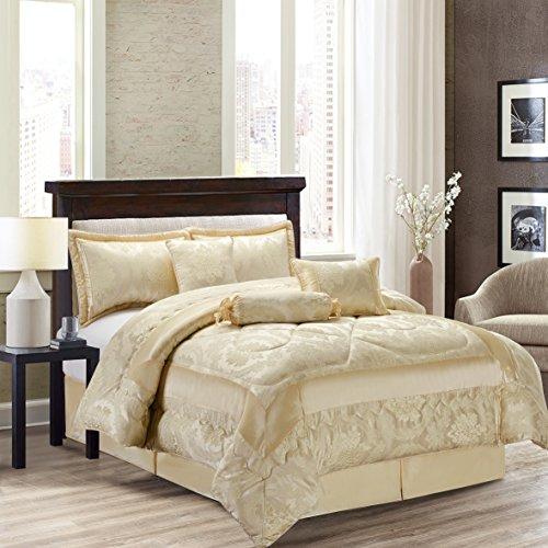 Jacquard de luxe 7 pièces Couvre-lit Couette Parure de lit + Housse de Coussin assorti, Betty Cream, King