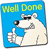 """Primary Teaching Services B31 16 mm """"Well Done Polar Bear"""" Square Stickers (Sheet of 140)"""
