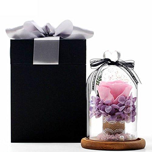 Boîte de cadeau fleur éternelle,Verre Roses Fleurs Fleur Le jour de noël Valentin Anniversaire Ornements-B 12x17cm(5x7inch)