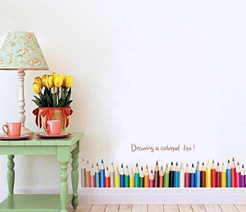 Weaeo Schönes Wohnzimmer Buntstift Zeichnung Schlafzimmer Baseboard Aufkleber Hintergrund Aufkleber