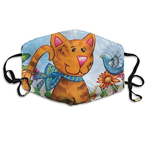 Vbnbvn Mundmaske,Wiederverwendbar Anti Staub Schutzhülle, Welcome Cat Spring Bird Floral Kitty Printed Mouth Masks Unisex Anti-dust Masks Reusable Face Mask (Cyborg Gesicht Für Kostüm)