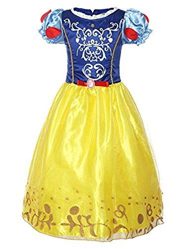 Yigoo Mädchen Kostüm Schneewittchen Prinzessin Kleid Party Kinder Retro Cosplay Kleidung Festival Hallween Karnerval - Schneewittchen Und Zwergen Kostüm