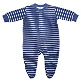 Living Crafts Baby/Kinder Frottee-Schlafanzug Bio-Baumwolle Denim Blue/White Striped 98
