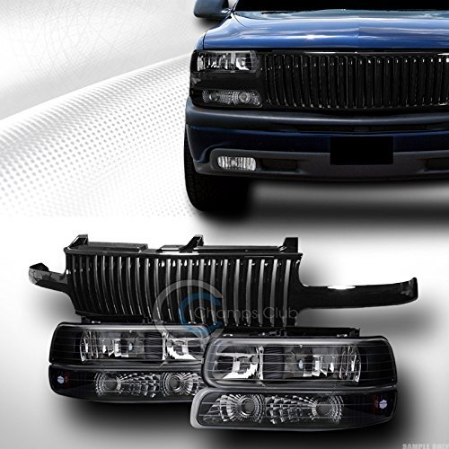 BLK HEADLIGHT SIGNAL AM+VERTICAL FRONT GRILL GRILLE 1999-2006 SILVERADO SUBURBAN by S & T RACING INC