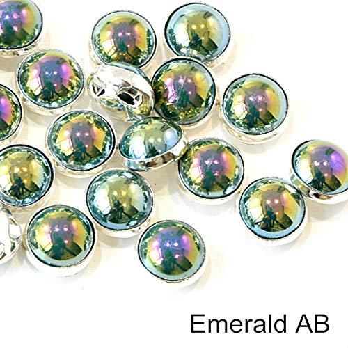 Penveat 100 pezzi perline colorate pearl cucitura per cucire strass con argento/oro artiglio natator mezzotondo perla per vasi abbigliamento b3120, smeraldo ab 8mm - 100pcs