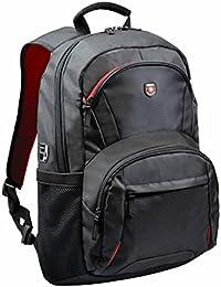 Port Designs 110265 - Mochila de transporte para ordenador portátil hasta 17'', Negro/Rojo