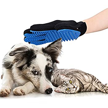 OMorc Gant de Toilettage Massage pour Chiens/Chats/Lapin Brosse pour baigner Animaux Peigne pour Poils Cheveux Longs ou Courts Doux et Efficace Double-face Utilisable en Silicone Bleu 2 PCs
