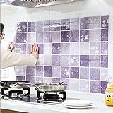 Transer® Küche Tapete Ölbeständige wasserdichte hitzebeständige Wandaufkleber für Schlafzimmer Wohnzimmer Badezimmer Zimmer Dekor Selbstklebende Wandaufkleber 100cm x 60cm