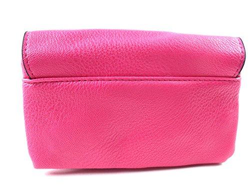 NUOVO DONNE RAGAZZE S borsa borsetta con chiusura a scatto PORTAFOGLIO bag portamonete credito porta carte Cinturino da polso Rosa Fucsia