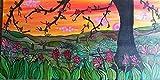 ARTISTICANDO -dipinto a mano autentico sunset paesaggio di primavera 100x50 cm