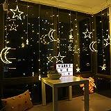 Sterne Lichterketten, LED Sterne Vorhang Lichter, elegante Sterne Mond Design LED Lichterkette für Weihnachten Hochzeit Garten Outdoor Indoor Dekorationen (warm color, 2.5m)