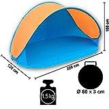 Pop Up Strandmuschel mit Boden UV-Schutz 40 oder 60 - 220 x 120 x 100 - cm in verschiedenen Farben (Blau / Orange UV60) -