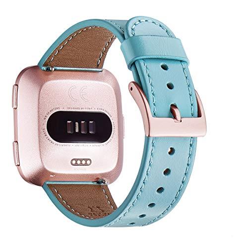 WFEAGL Kompatibel für Fitbit Versa Armband, Top Grain Lederband Ersatzband mit Edelstahl-Verschluss für Fitbit Versa Fitness Smart Watch (Tiffany Blau+Roségold Schnalle)
