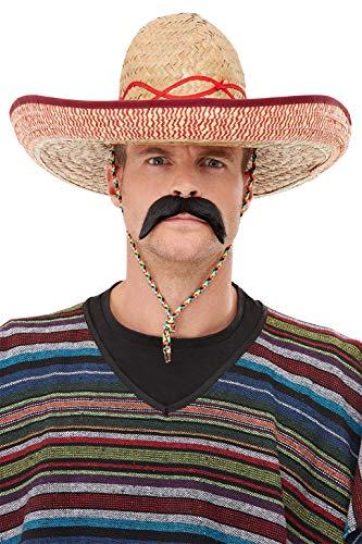 Sombrero Kostüm - Sombrero Strohhut Extra-groß mit Kordel, One Size