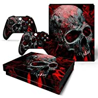 Mcbazel Pattern Series Skin Sticker for Xbox One X Console and Controller Red Skull