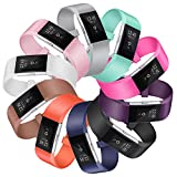 SnowCinda Fur Fitbit Charge 2 Armband, Verstellbares Ersatzarmband TPU Design Sport Bands Fitness Zubehor fur Fitbit Charge 2 SmartWatch Zehn Packung S