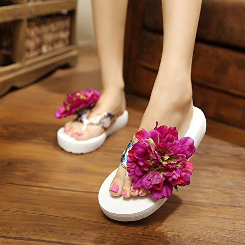 Butterme Femmes Floral Été Satin Wedge Tongs avec Fleur DIY Décorer Bohème Sandales Plage Chaussures Sandale Blanc et Violet