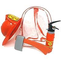 Brigamo Niños bombero Mochila Set con extintor Agua Pistola, hacha y bomberos Casco