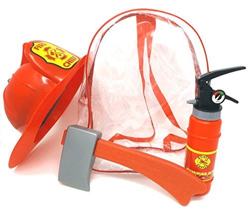 Brigamo Kinder Feuerwehrmann Rucksack, Feuerwehr Set mit Feuerlöscher Wasserpistole, Axt und Feuerwehrhelm