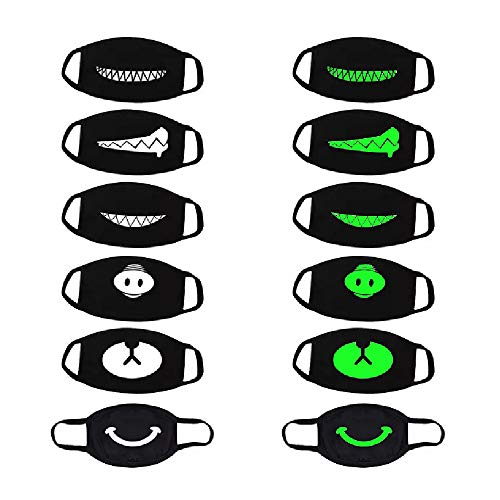 thematys 6er Set Mundmaske wiederverwendbar - Mundschutz Maske mit 6 coolen Motiven beidseitig Bedruckt - leuchten im Dunkeln